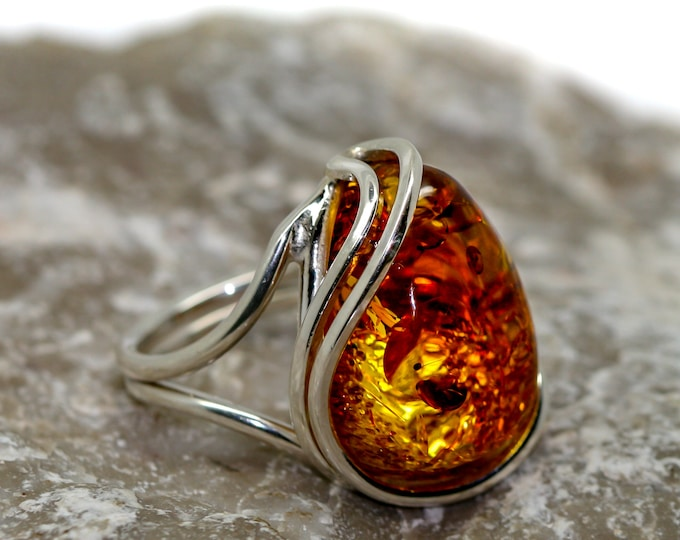 Baltic amber ring.Baltic amber & sterling silver, unique ring, statement ring, contemporary ring, designer ring, Valentine's Day gift