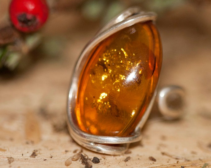 Baltic amber ring. Large, Baltic amber & sterling silver, unique ring, statement ring, contemporary ring, designer ring, Christmas gift