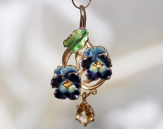 Unique, designer large pendant, citrine in sterling silver, for her, blue flower, enameled and handmade, 24ct gold plated, pansy pendant