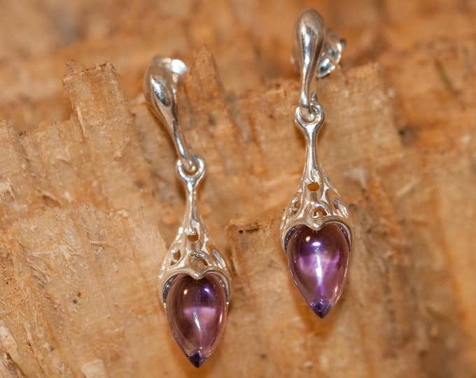 Amethyst Earrings fitted in a Sterling Silver. Dangle amethyst earrings .Amethyst jewelry, celtic earrings. Drop earrings