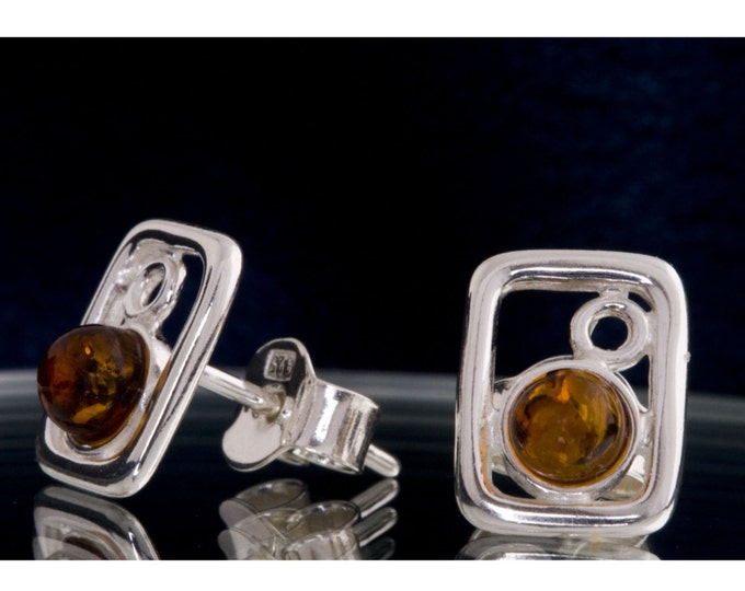 Amber&Silver. Cognac amber earrings.