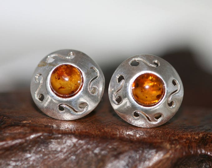 Studs earrings. Studs sterling silver and cognac amber earrings. amber stone. Perfect gift for her. Amber jewellery,  jewellry.
