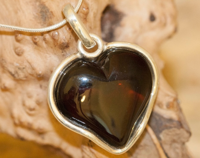 Heart Amber Pendant in Sterling Silver. Amber necklace, silver pendant. Dark cognac amber jewelry. Perfect gift for her.Heart shape pendant.