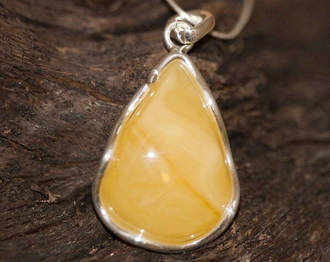 Milky Amber Pendant in Sterling Silver. Amber necklace, silver pendant. Baltic Amber jewelry. Perfect gift for her. Statement necklace.