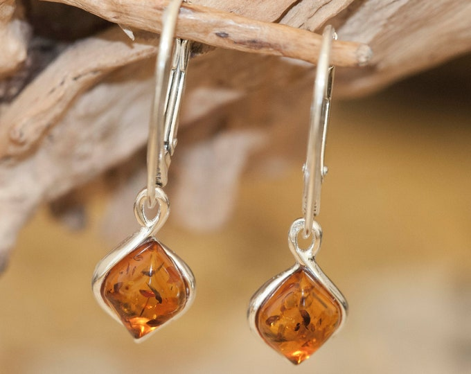 Amber & Silver. Classic cognac amber earrings, sterling silver dangle earrings. Perfect gift for her.Amber jewelry. Handmade jewelry.