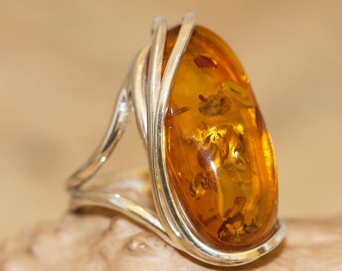 Baltic amber ring. Baltic amber & sterling silver, unique ring, statement ring, contemporary ring, designer ring, Christmas gift