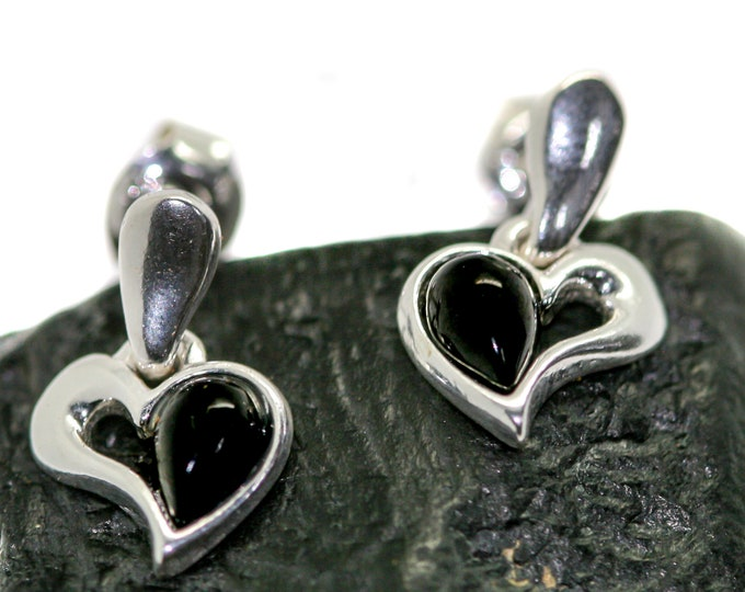 Whitby Jet Earrings. Sterling Silver Earrings, British jewellery. Contemporary jewelry. Perfect gift. Genuine Whitby Jet.Heart shaped design