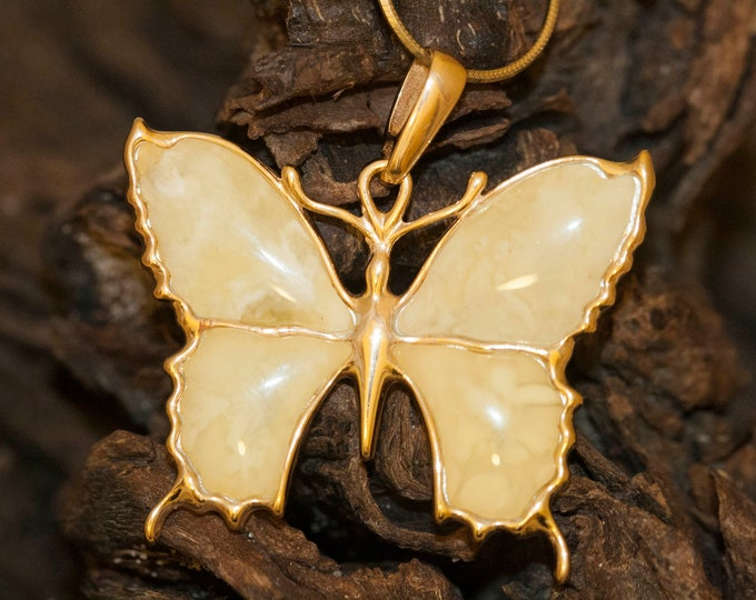 Amber & Gold. Four pieces of Milky Baltic amber. Butterfly shaped setting. Gold pendant. Amber jewelry, contemporary design. Unique.
