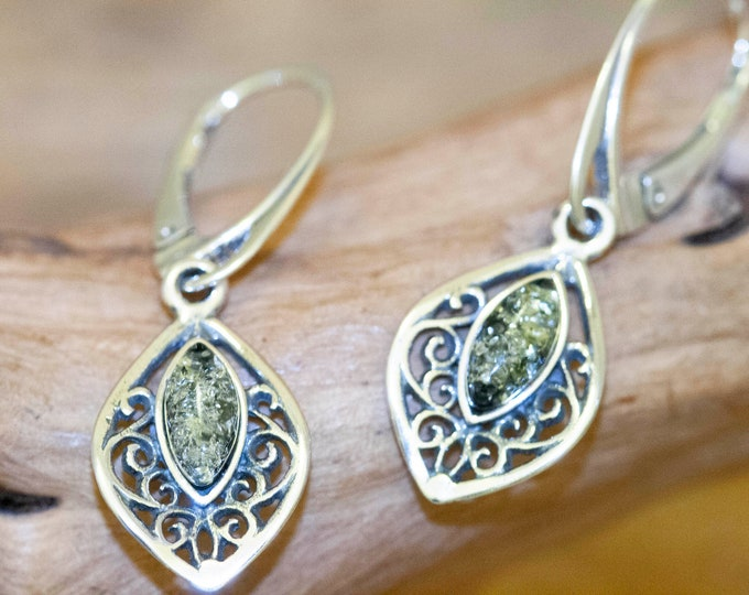 Green Amber Earrings fitted in a Sterling Silver setting. Celtic earrings, amber stone. Perfect gift. Amber jewellery, green amber earrings