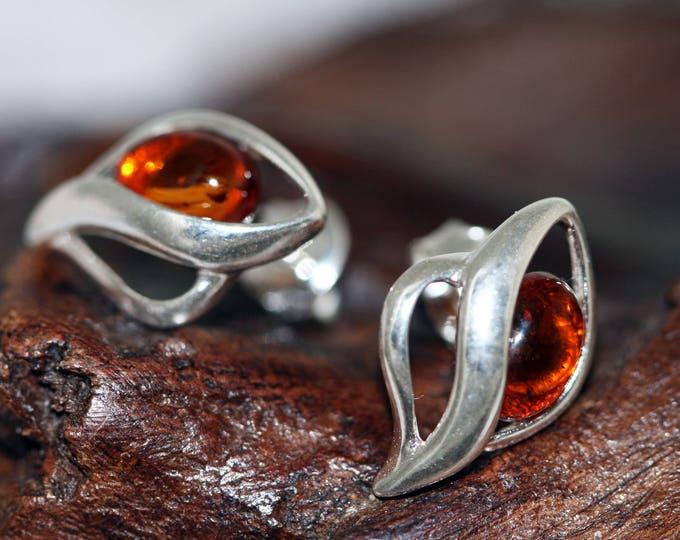 Amber studs. Baltic amber earrings in Sterling Silver, Cognac amber earrings. Silver Earrings. Gift for her. Butterfly earrings. Celtic