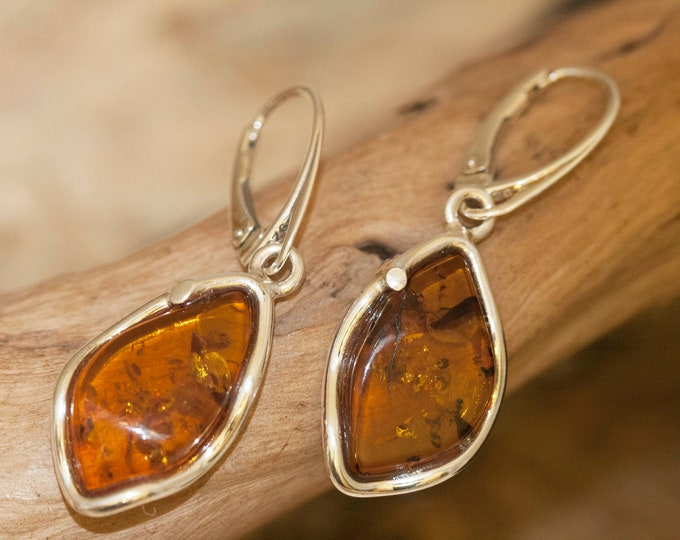 Baltic Amber Earrings fitted in Sterling Silver setting. Large silver earrings. Perfect gift for her. Amber jewellery, jewelry, lever back