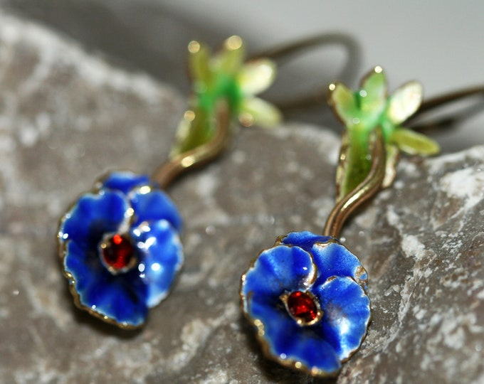 Unique designer dangle earrings, Garnet in sterling silver, leverback, blue flower, enameled and handmade, 24ct gold plated, pansy shape