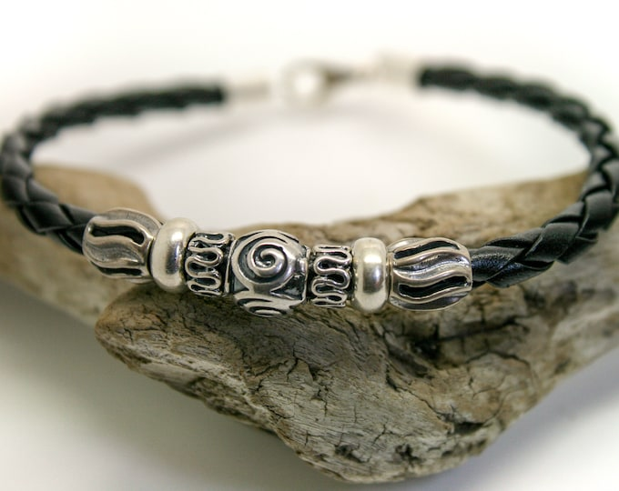 Men Bracelet Leather & Sterling Silver  / Men Jewelry / Silver bracelet / Gift for him / Anniversary gift / Viking jewelry / Viking bracelet