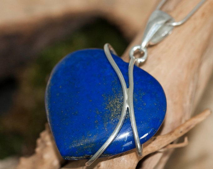Large Lapis Lazuli Pendant fitted in Sterling Silver setting. Heart shaped Lapis Lazuli pendant. Valentine's Day gift. Contemporary jewelry.