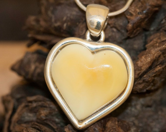Heart Amber Pendant in Sterling Silver. Amber necklace, silver pendant. Milky amber jewelry. Perfect gift for her.Heart shape pendant.