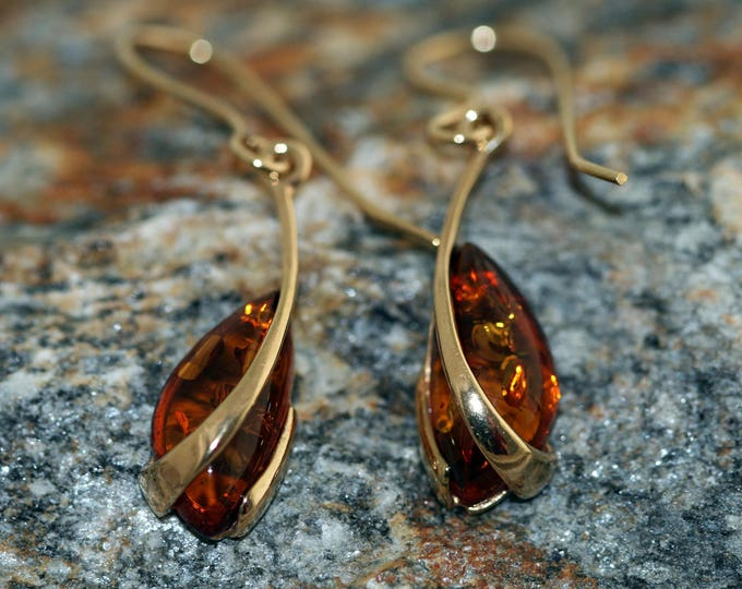 Amber & Gold. Baltic amber earrings. Gold earrings. Perfect gift for her. Amber jewelry. Handmade jewelry. Silver jewelry. Hook earrings.