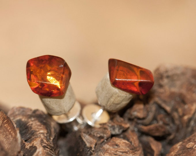 Stud earrings. Baltic Amber and Storm Wood. Cognac amber earrings. amber stone. Perfect gift for her. Amber jewelry,  sterling silver.