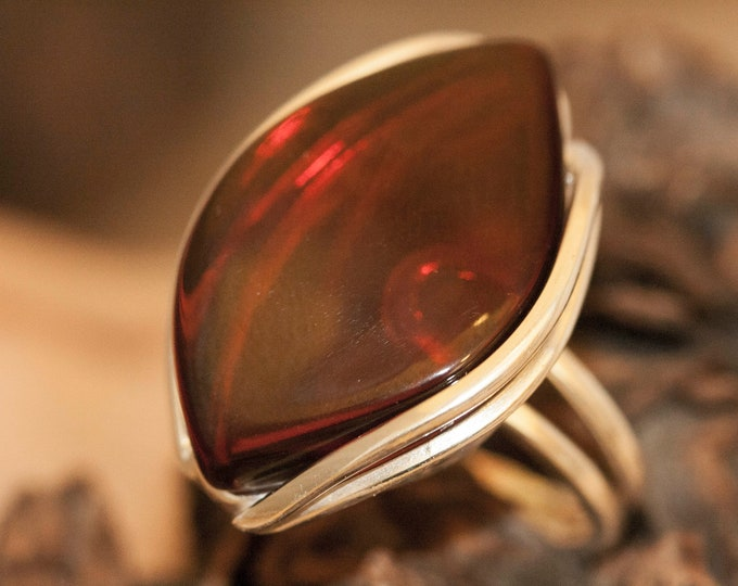 Dark cognac amber ring. Baltic amber & sterling silver, unique ring, statement ring, contemporary ring, designer ring,Christmas gift