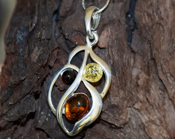 Baltic Amber Pendant in Sterling Silver. Amber necklace, silver necklace. Multicolor amber pendant. Perfect gift. Cognac amber. Dainty.