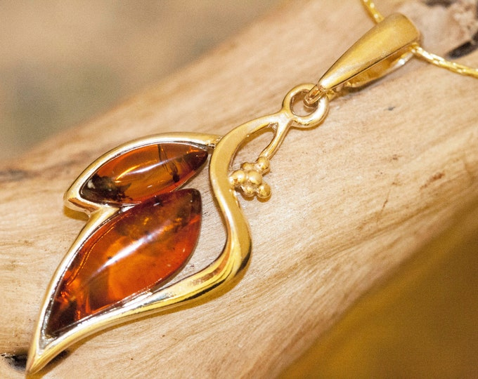 Amber & Gold. Baltic amber pendant, gold necklace. Perfect gift for her. Gold pendant. Amber jewelry. Handmade jewelry. cognac amber
