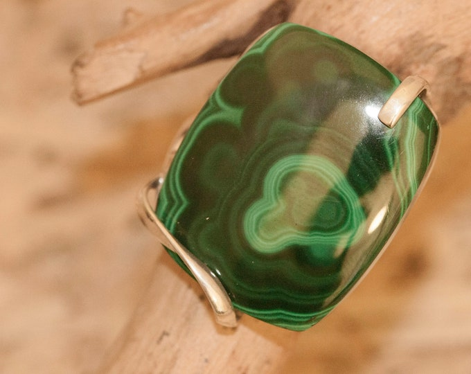 Malachite fitted in sterling silver setting. Statement ring. Malachite ring. Designer jewelry. Contemporary ring, rectangular stone, modern.