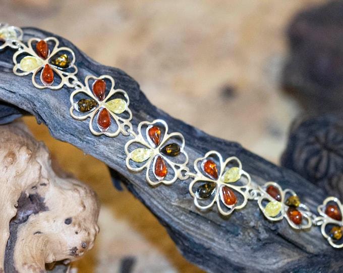 Multicolor amber bracelet. genuine amber bracelet, Four leaf clover. Amber bracelet. Links bracelet. Gift for her. Flower bracelet Celtic