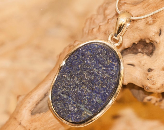 Lapis Lazuli Pendant fitted in Sterling Silver setting. Lapis Lazuli necklace. Design jewelry. Contemporary jewelry. Lapis jewelry