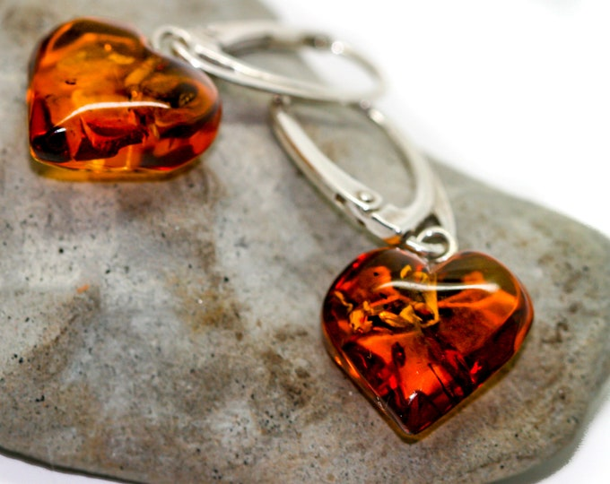 Baltic Amber earrings fitted in a Sterling Silver setting. Handmade amber & silver earrings.Valentine's Day gift .Amber jewelry, heart shape