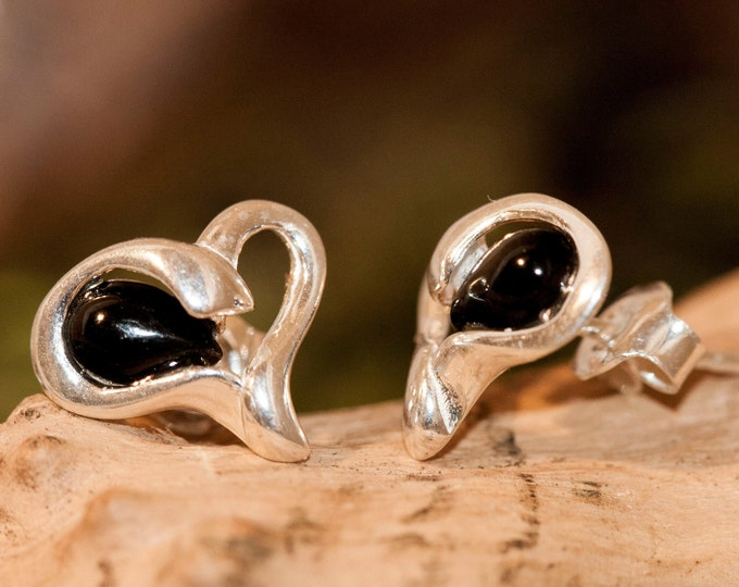 Whitby Jet Earrings. Sterling Silver. Heart shaped, British jewellery. Contemporary jewelry. Perfect gift. Genuine Whitby Jet. Dainty studs