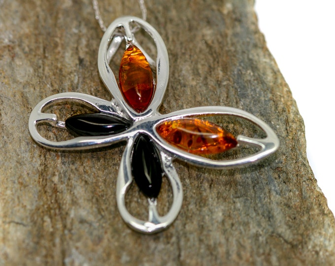 Whitby Jet and Amber pendant. Sterling Silver Pendant, British jewellery. Contemporary jewelry. Genuine Whitby Jet. Perfect gift.