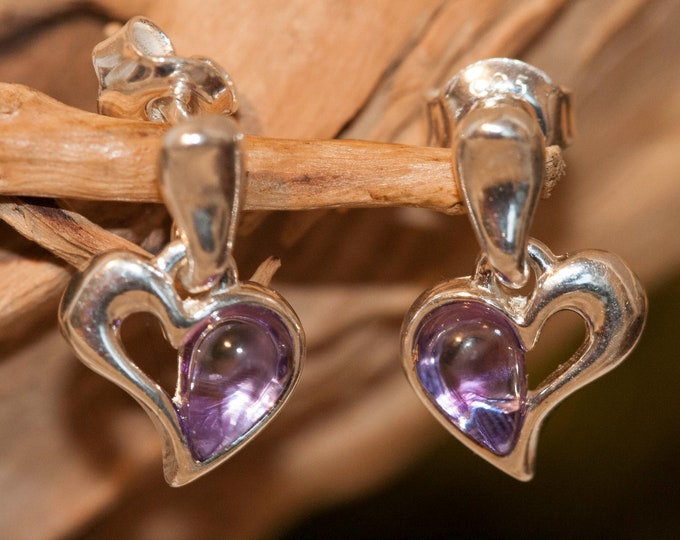Amethyst Earrings fitted in a Sterling Silver. Dangle amethyst earrings. Valentine's Day gift .Amethyst jewelry, heart shaped earrings