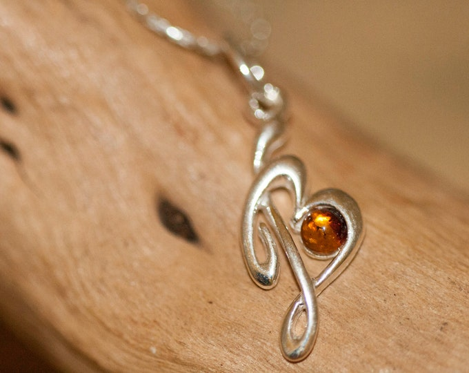 Letter B pendant in Sterling Silver. Amber necklace, silver jewelry. Baltic Amber jewelry. Silver necklace. Letter B pendant, perfect gift