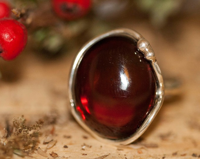 Baltic amber ring. Cherry kind of amber & sterling silver, unique ring, statement ring, contemporary ring, designer ring, Christmas gift