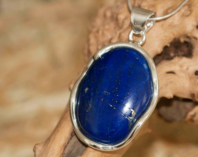 Amazing Lapis Lazuli Pendant fitted in Sterling Silver setting. Lapis Lazuli necklace. Design jewelry. Contemporary jewelry.