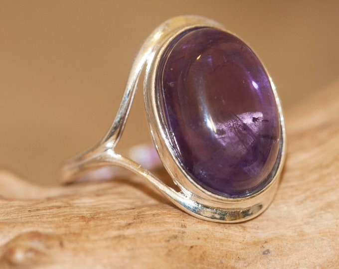Amethyst ring. Amethyst & sterling silver, unique ring, handmade ring, contemporary ring, designer ring, Christmas gift,