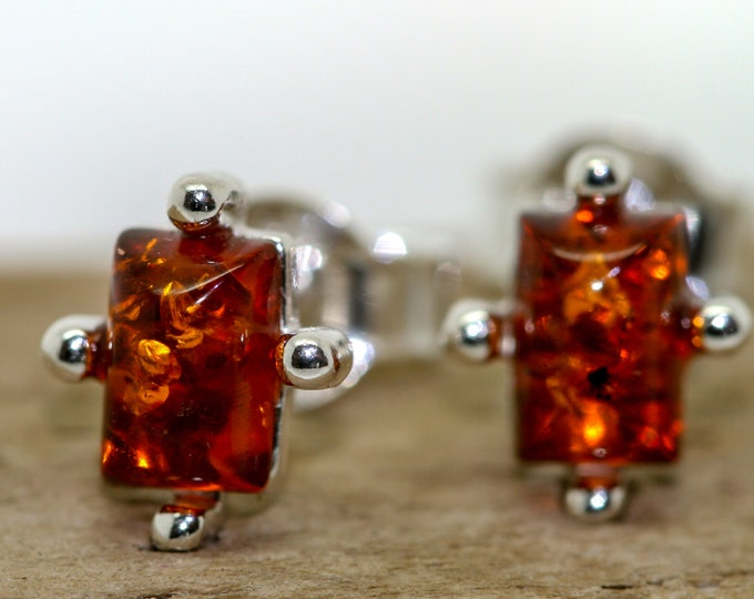 Baltic Amber Earrings fitted in a Sterling Silver setting. Stud earrings, amber stone. Perfect gift for her. Amber jewellery,  jewellry.