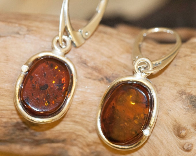 Baltic Amber Earrings fitted in Sterling Silver setting. Big silver earrings, dark amber. Perfect gift for her. Amber jewellery, jewellry