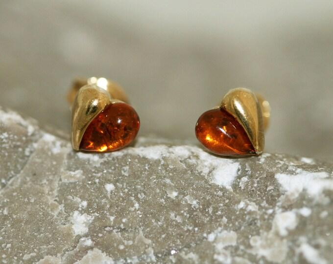 Amber & Gold. Heart shaped Baltic amber earrings, gold earrings. Valentine's Day gift. Amber jewelry. Handmade jewelry. Stud earrings.
