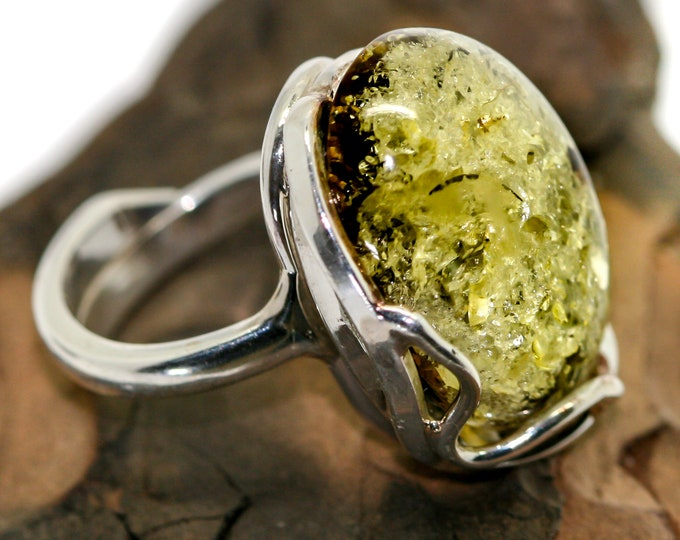 Baltic amber ring. Green Baltic amber & sterling silver, unique ring, statement ring, contemporary ring, designer ring, Valentine's Day gift