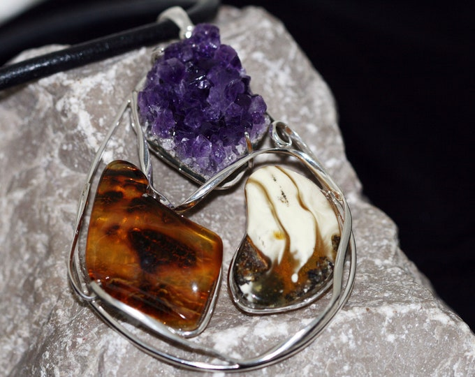 Unique, designer large pendant, amethyst and amber in sterling silver, gift for her, three stones in sterling silver. Uruguay amethyst