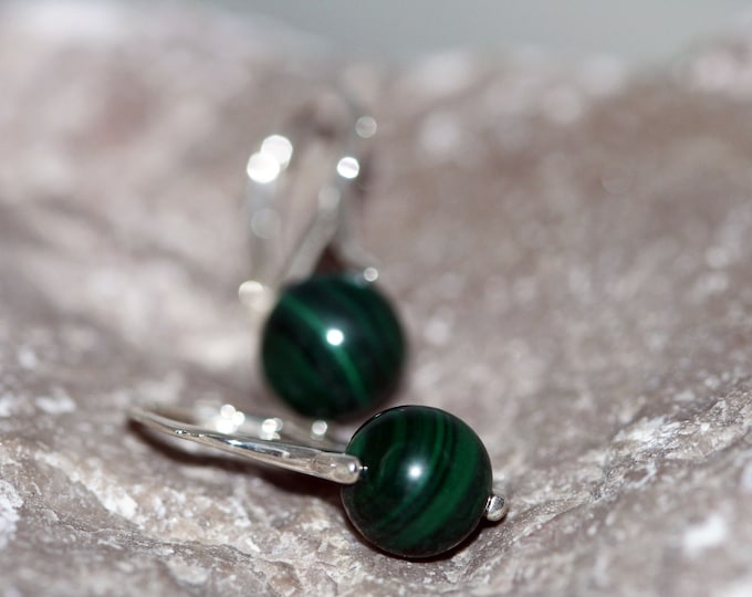 Malachite Earrings fitted in a Sterling Silver setting. Silver earrings, malachite stone. Perfect gift for her. Malachite jewelry, jewellery