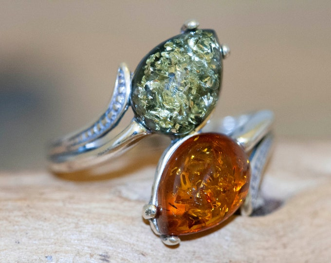 Baltic amber ring. Viking design. Sterling silver ring. Unique ring. Green amber. Handmade ring. Genuine amber. Perfect gift. US size 9 1/2
