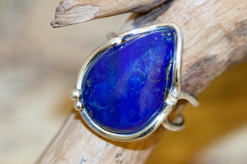 Lapis Lazuli rings Design jewelry. Lapis jewellery Statement Lapis Lazuli Ring fitted in Sterling Silver setting big ring silver ring