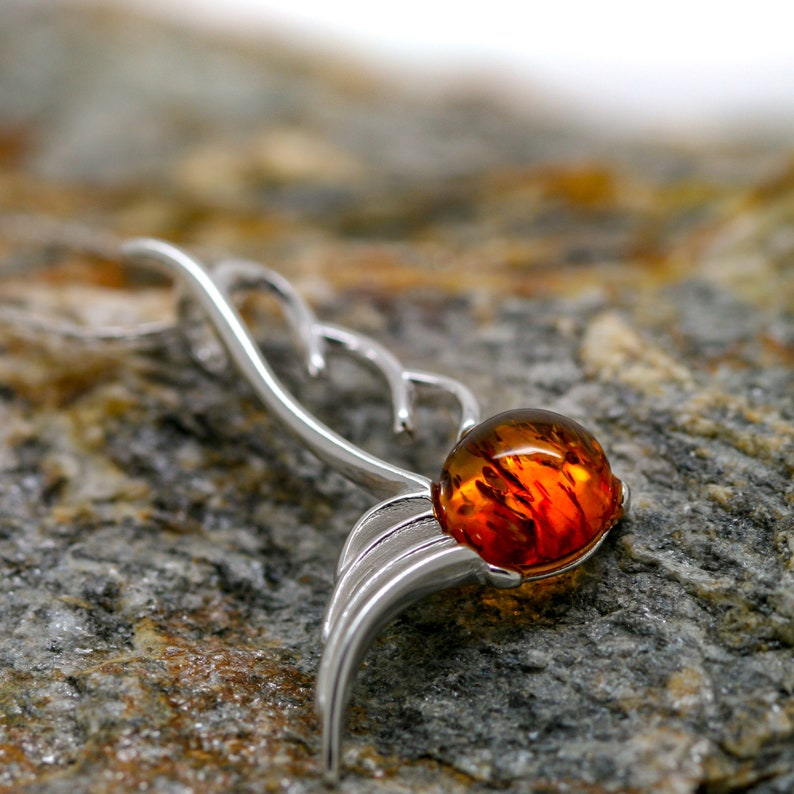 NO CHAIN BALTIC AMBER AND STERLING SILVER 925 DESIGNER COGNAC PENDANT JEWELLERY JEWELRY