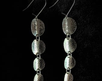 Inverted Hammered Sterling Silver Disc Earrings