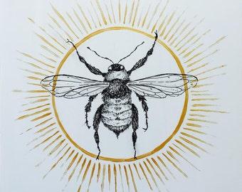 Gold Bee Print