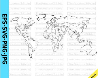 World map outline | Etsy
