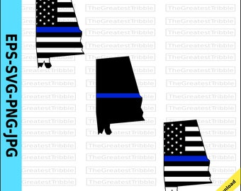 Magnet 2-3 Alabama State Thin Blue Line Decal Set Al Police Sheriff Swat Magnetic Sticker