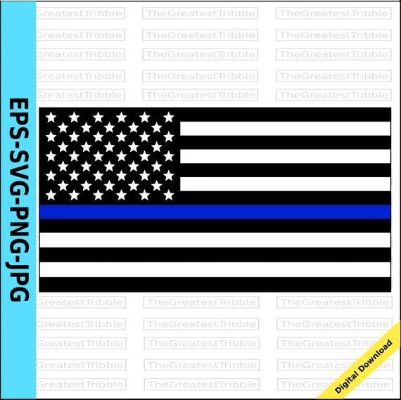 Thin Blue Line United States Flag Eps Svg Png Jpg Vector Etsy
