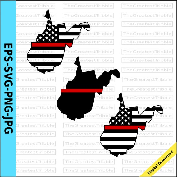 Thin Red Line West Virginia Usa Flag Eps Svg Png Jpg Vector Etsy